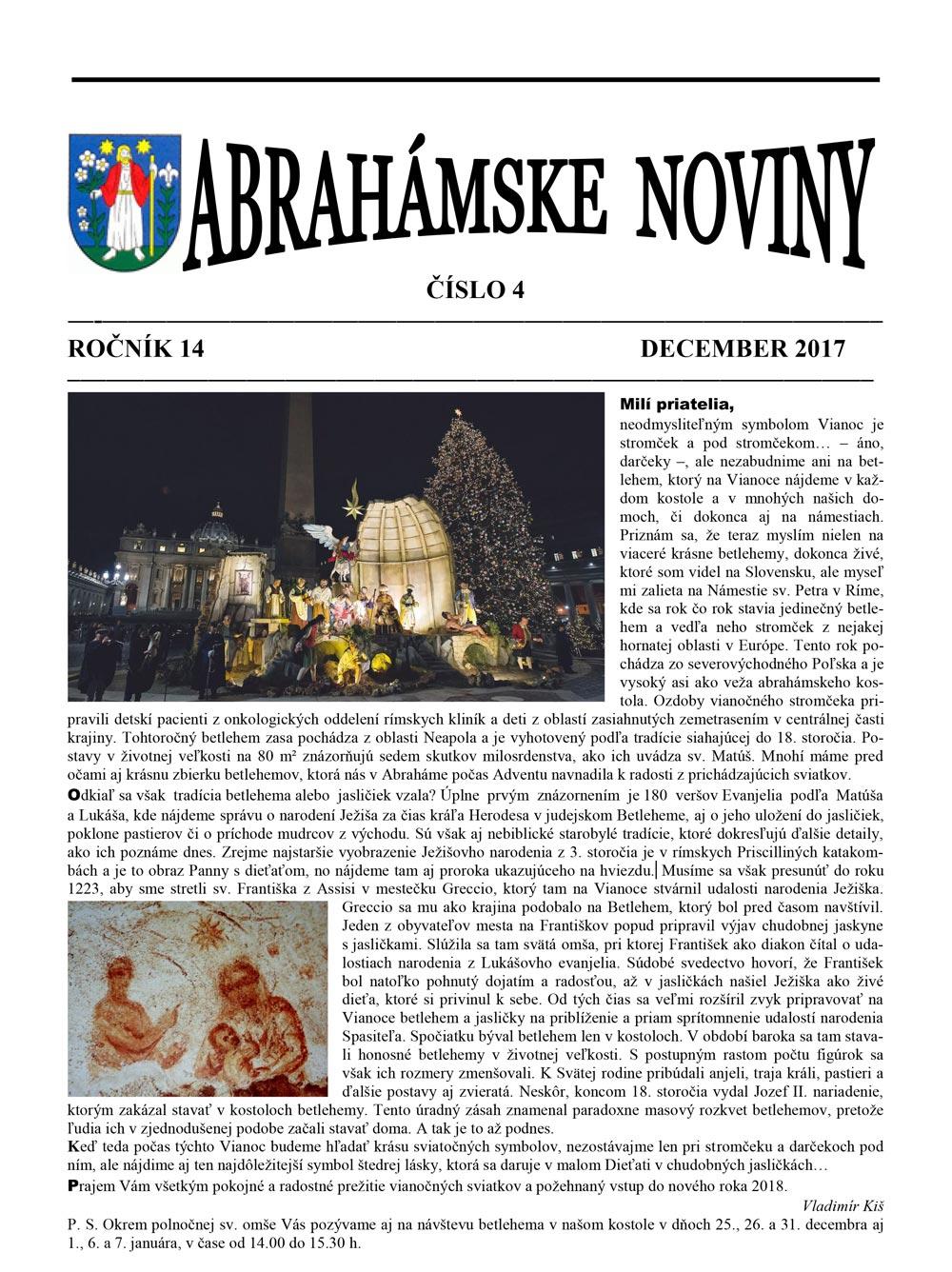 Abrahámske noviny december 2017