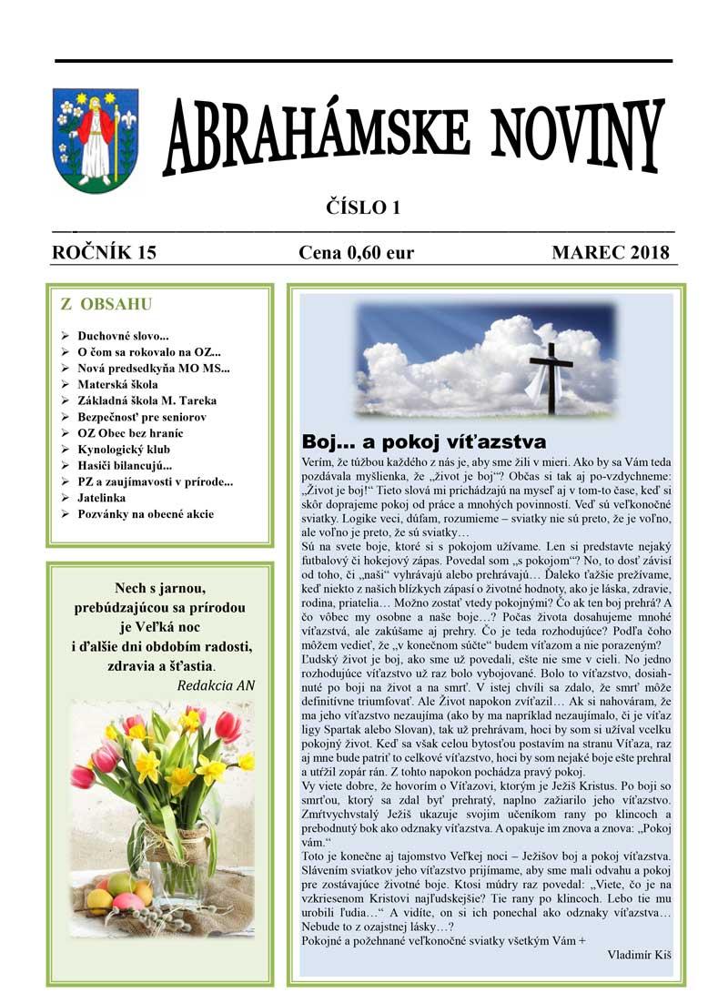 Abrahámske noviny - marec 2018