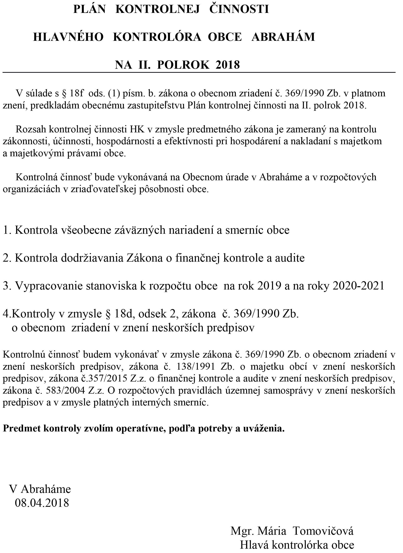 Plán kontrolnej činnosti 2.polrok 2018