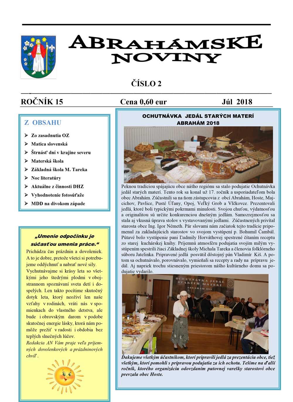 Abrahámske noviny júl 2018
