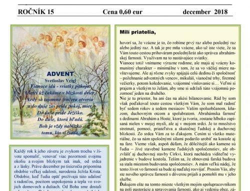 Abrahámske noviny č.4, ročník 15, december 2018
