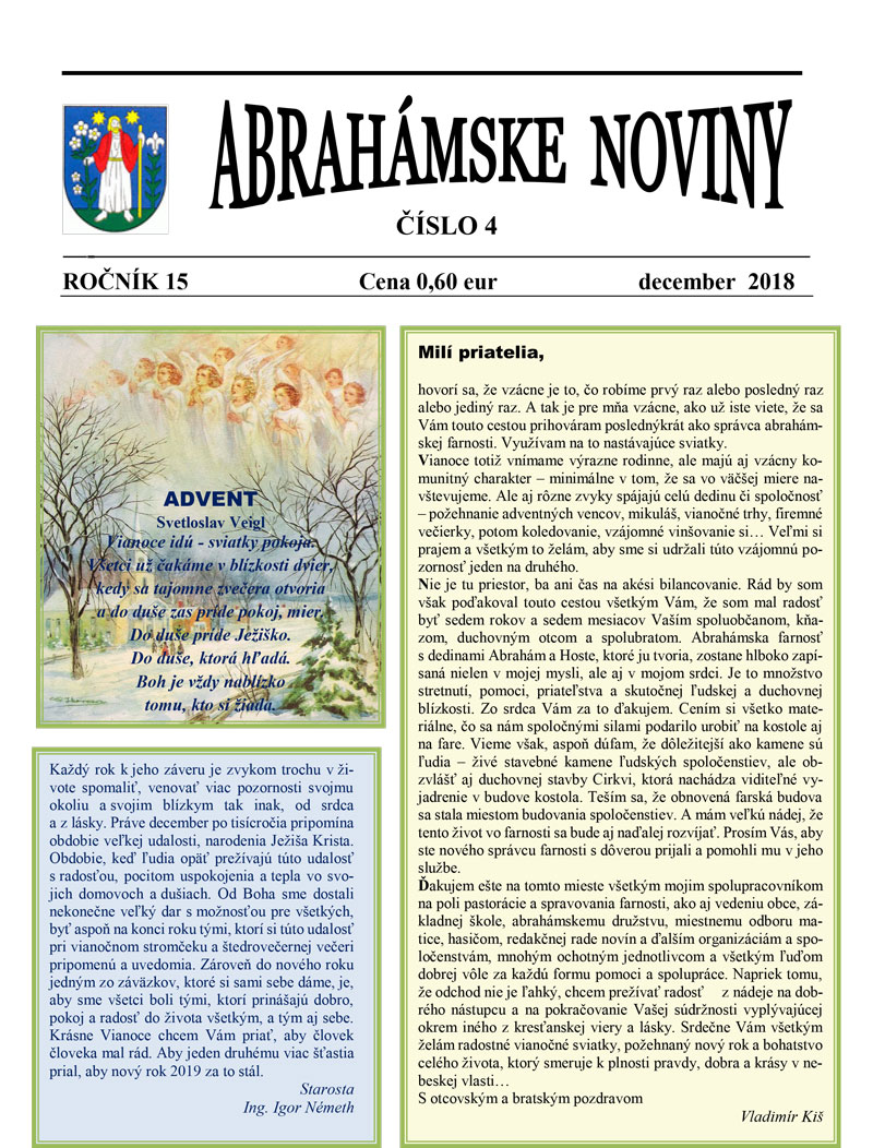 Abrahámske noviny, december 2018