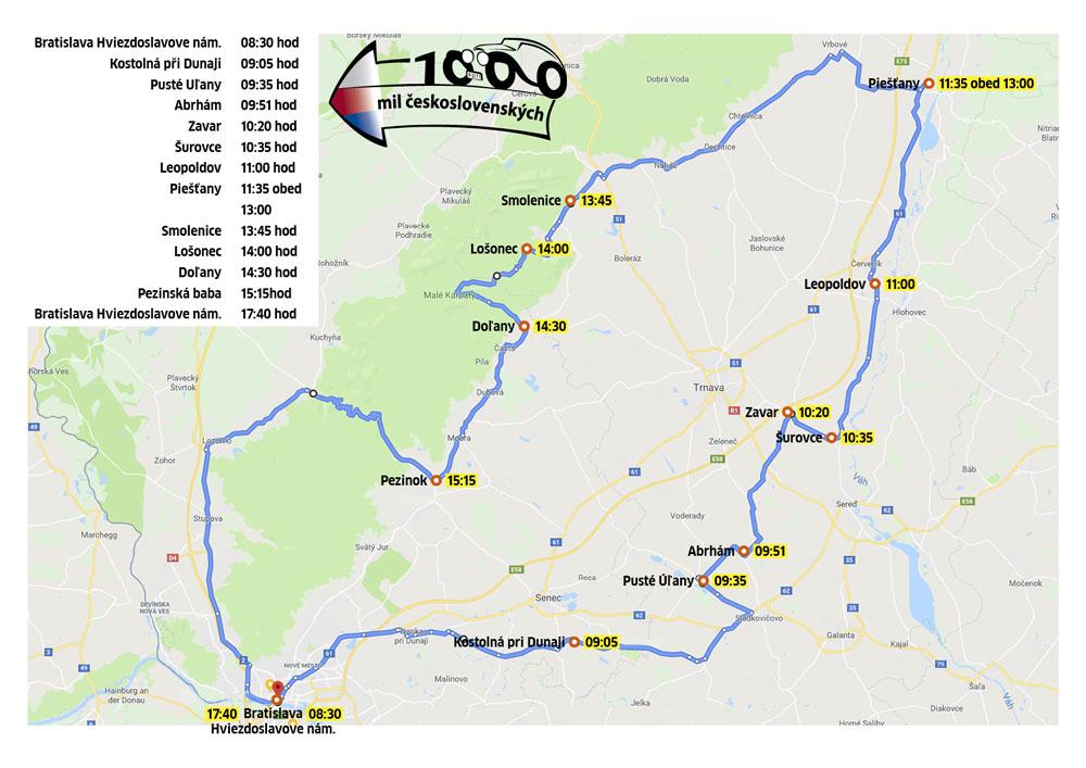 Mapa prejazdu vozidiel cez Slovensko