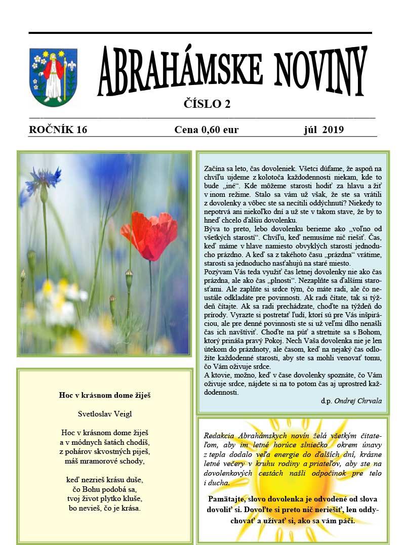 Abrahámske noviny č.2, júl 2019