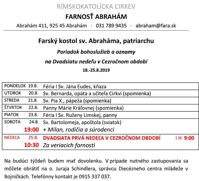 oznamy farského úradu Abrahám