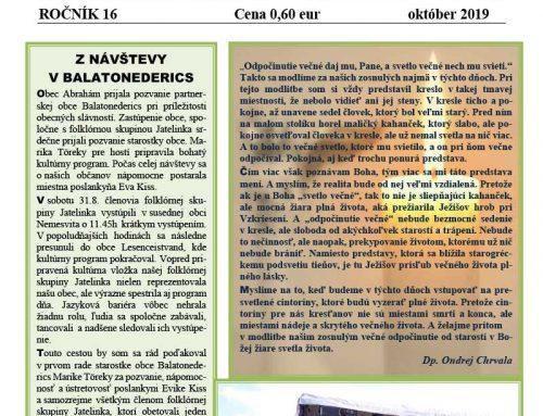 Abrahámske noviny číslo 3, ročník 16, október 2019