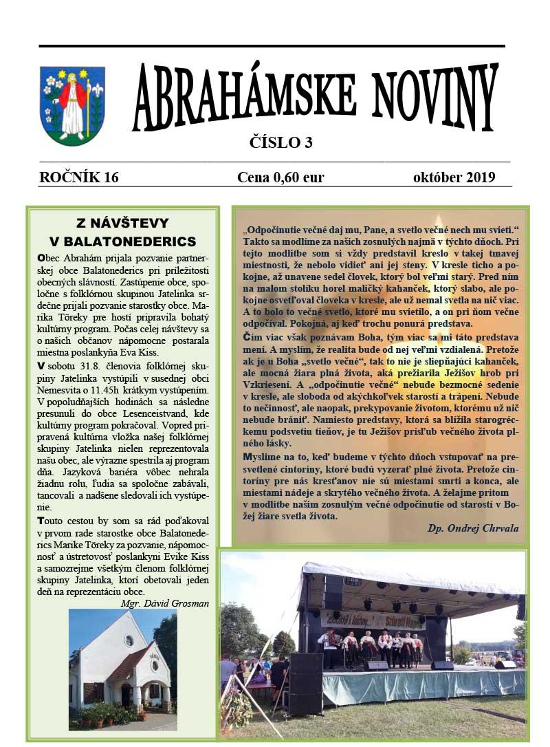 Abrahámske noviny - október 2019