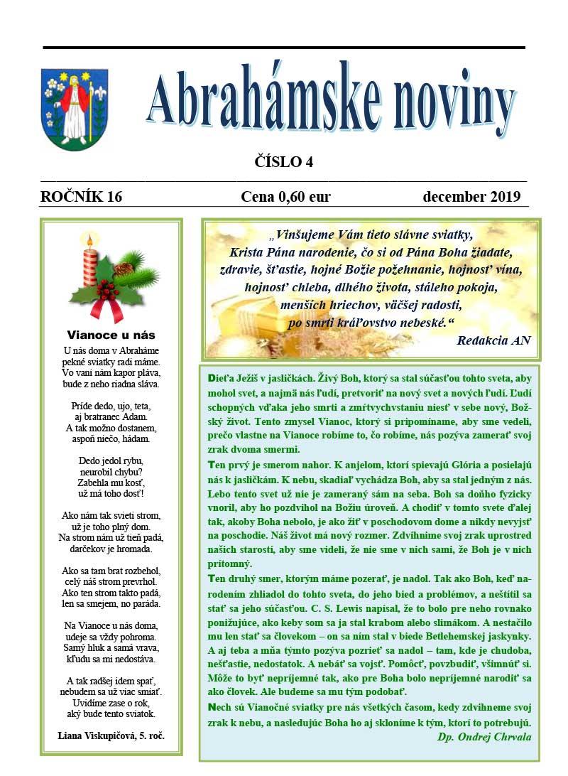 abrahámske noviny december 2019