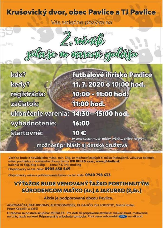súťaž vo varení gulášu Pavlice - plagát