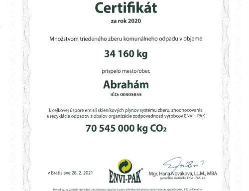 ENVI-PAK systém združeného nakladania s odpadom – certifikát 2020