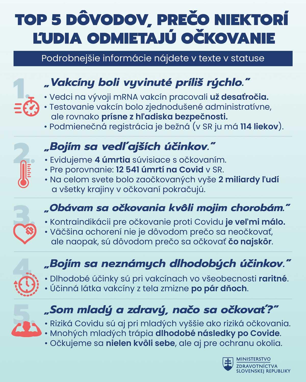 top 5 dôvodov odmietania vakcíny